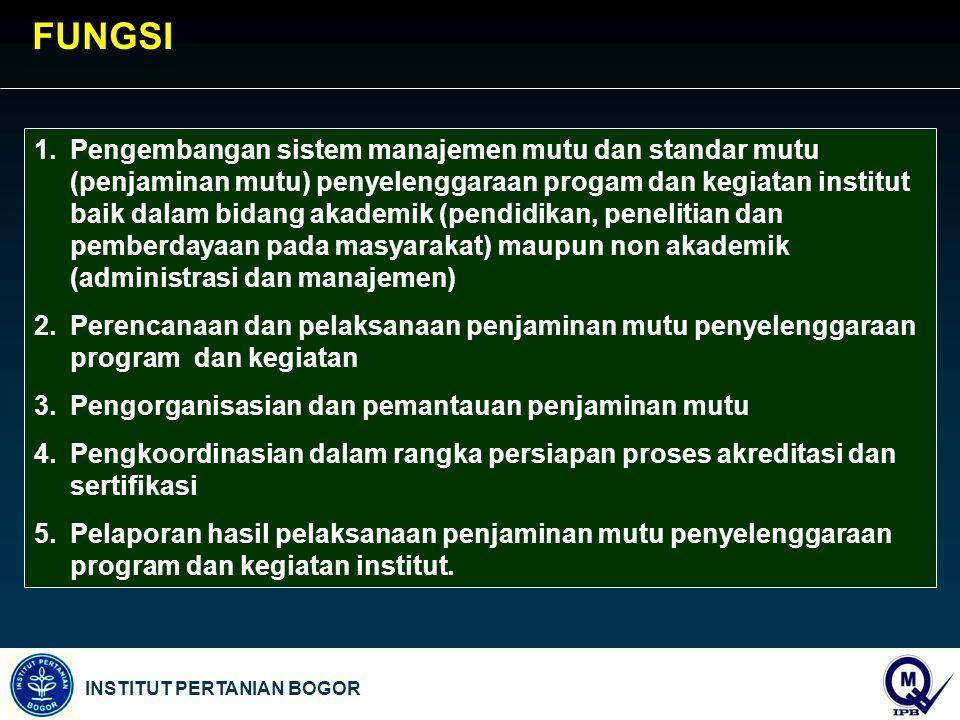 INSTITUT PERTANIAN BOGOR 1.Pengembangan sistem manajemen mutu dan standar mutu (penjaminan mutu) penyelenggaraan progam dan kegiatan institut baik dal