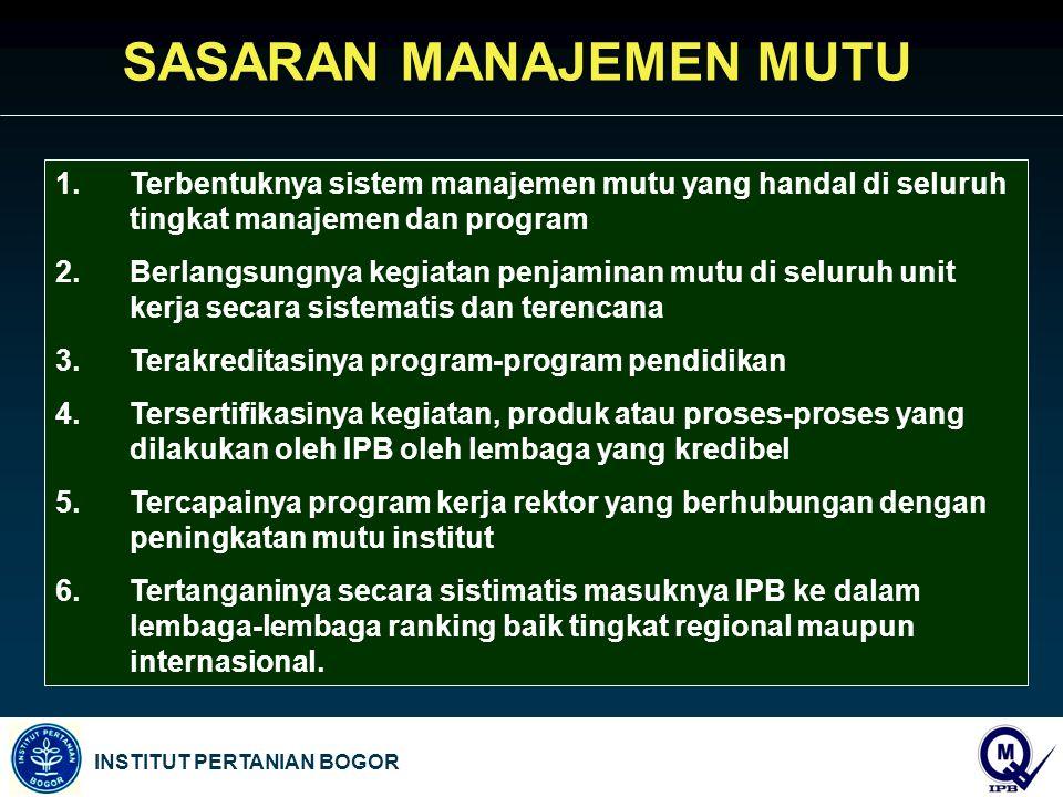INSTITUT PERTANIAN BOGOR 1.Terbentuknya sistem manajemen mutu yang handal di seluruh tingkat manajemen dan program 2.Berlangsungnya kegiatan penjamina