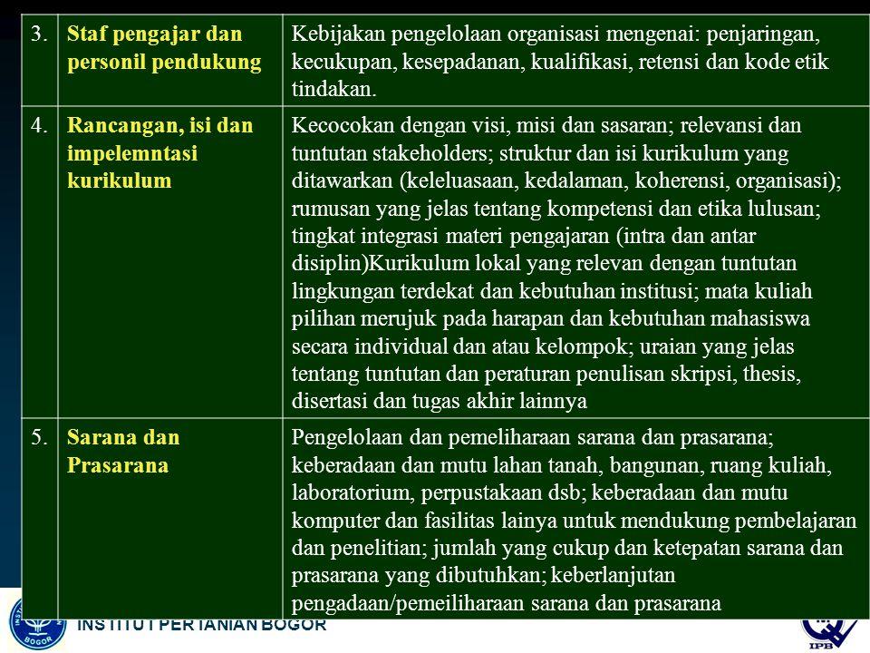 INSTITUT PERTANIAN BOGOR 3.Staf pengajar dan personil pendukung Kebijakan pengelolaan organisasi mengenai: penjaringan, kecukupan, kesepadanan, kualif