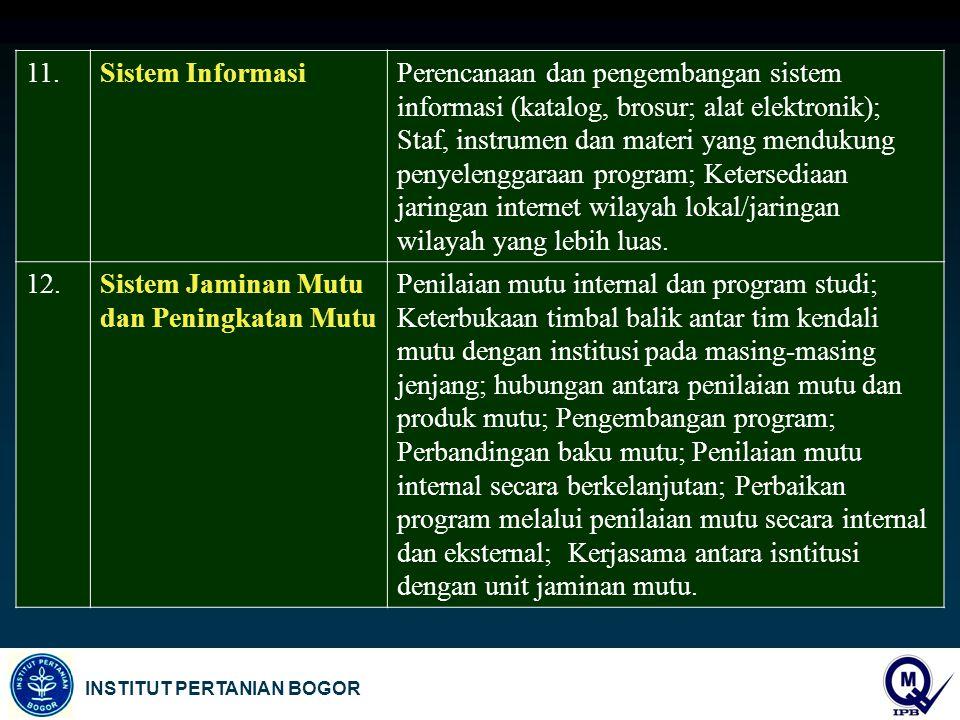 INSTITUT PERTANIAN BOGOR 11.Sistem InformasiPerencanaan dan pengembangan sistem informasi (katalog, brosur; alat elektronik); Staf, instrumen dan mate