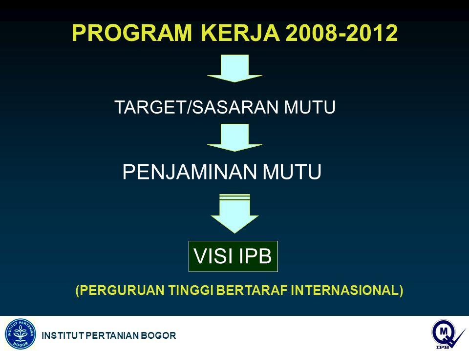 INSTITUT PERTANIAN BOGOR PENJAMINAN MUTU PROGRAM KERJA 2008-2012 TARGET/SASARAN MUTU VISI IPB (PERGURUAN TINGGI BERTARAF INTERNASIONAL)