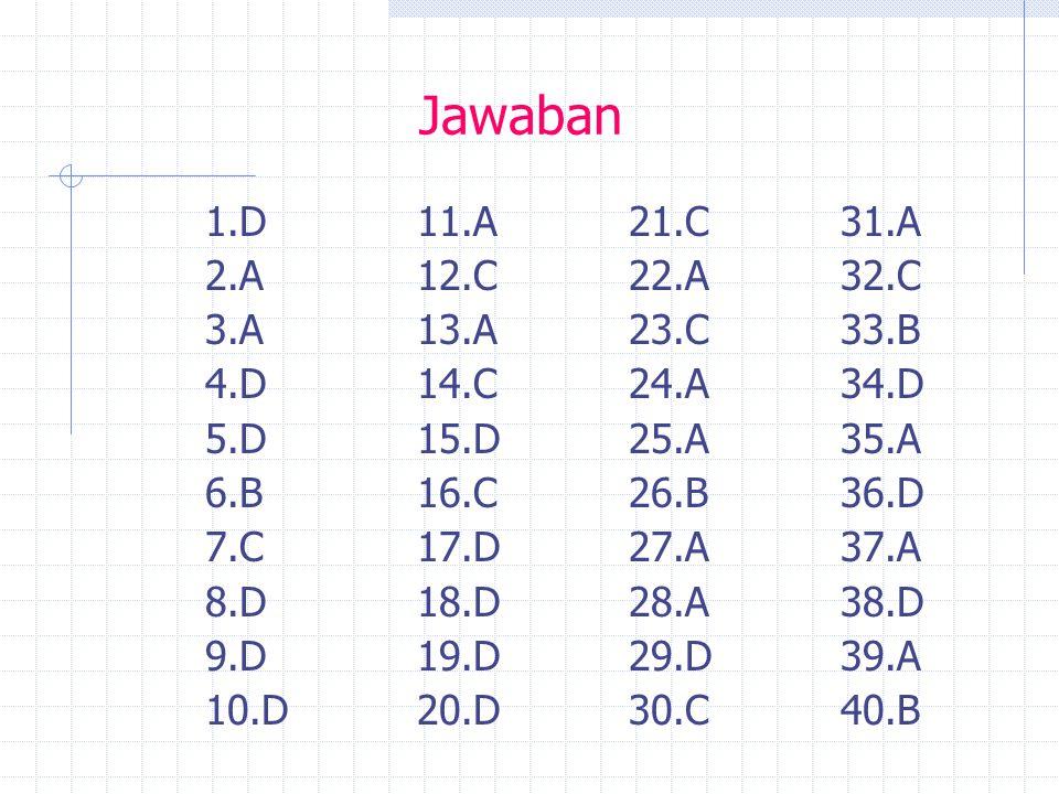 Jawaban 1.D11.A 21.C31.A 2.A12.C22.A32.C 3.A13.A 23.C33.B 4.D14.C 24.A34.D 5.D15.D25.A35.A 6.B16.C26.B36.D 7.C17.D27.A37.A 8.D18.D28.A38.D 9.D19.D29.D