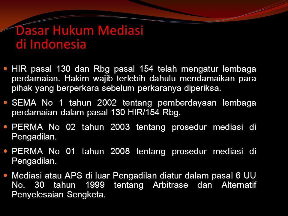 Dasar Hukum Mediasi di Indonesia HIR pasal 130 dan Rbg pasal 154 telah mengatur lembaga perdamaian.