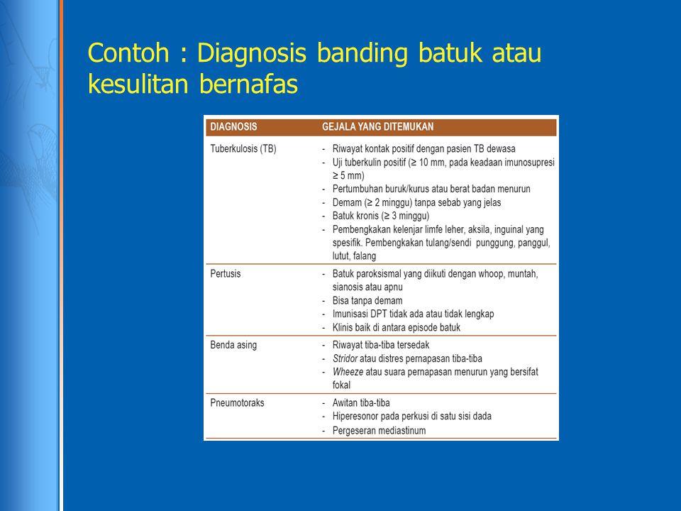 Contoh : Diagnosis banding batuk atau kesulitan bernafas