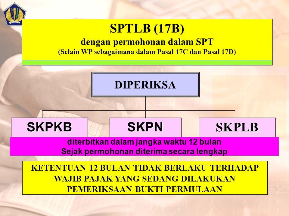 SPTLB (17B) dengan permohonan dalam SPT (Selain WP sebagaimana dalam Pasal 17C dan Pasal 17D) DIPERIKSA SKPLBSKPKBSKPN diterbitkan dalam jangka waktu