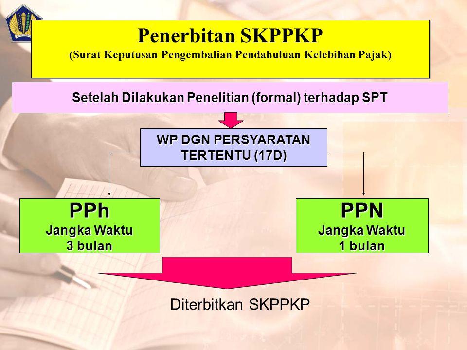 Penerbitan SKPPKP (Surat Keputusan Pengembalian Pendahuluan Kelebihan Pajak) Setelah Dilakukan Penelitian (formal) terhadap SPT PPN Jangka Waktu 1 bulan WP DGN PERSYARATAN TERTENTU (17D) PPh Jangka Waktu 3 bulan Diterbitkan SKPPKP
