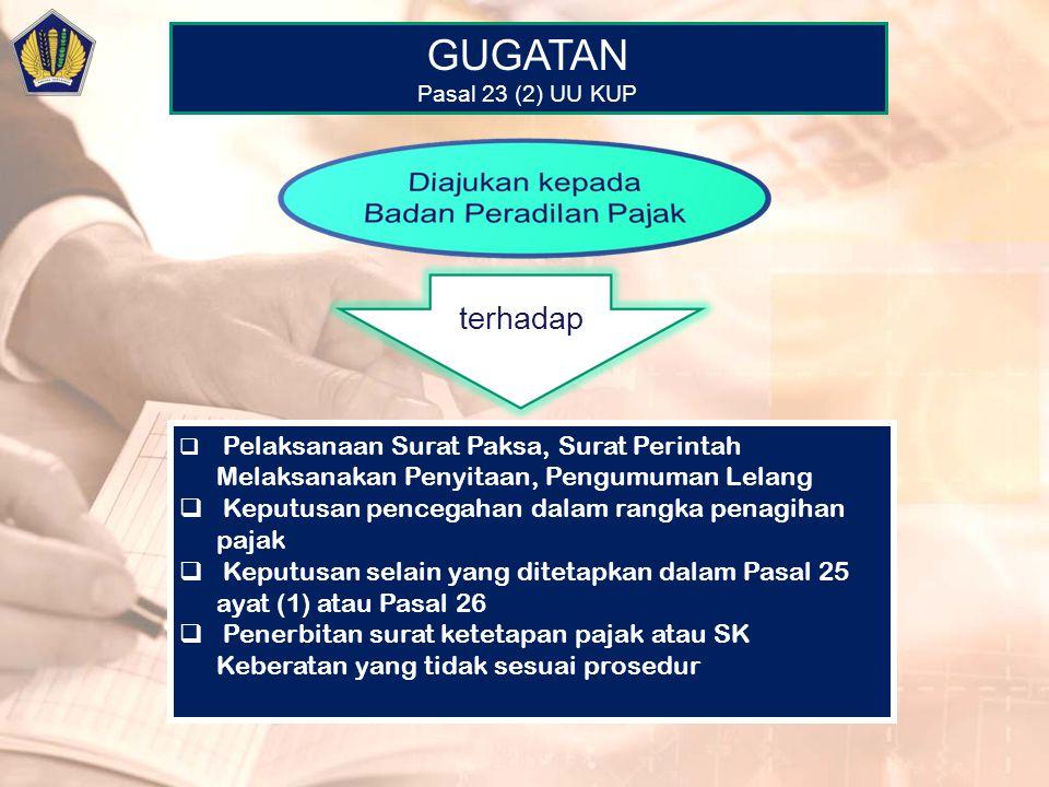 GUGATAN Pasal 23 (2) UU KUP  Pelaksanaan Surat Paksa, Surat Perintah Melaksanakan Penyitaan, Pengumuman Lelang  Keputusan pencegahan dalam rangka pe