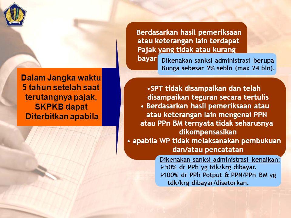 Dalam Jangka waktu 5 tahun setelah saat terutangnya pajak, SKPKB dapat Diterbitkan apabila Berdasarkan hasil pemeriksaan atau keterangan lain terdapat Pajak yang tidak atau kurang bayar Dikenakan sanksi administrasi berupa Bunga sebesar 2% sebln (max 24 bln).