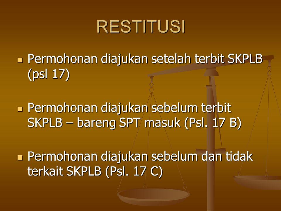 RESTITUSI Permohonan diajukan setelah terbit SKPLB (psl 17) Permohonan diajukan setelah terbit SKPLB (psl 17) Permohonan diajukan sebelum terbit SKPLB