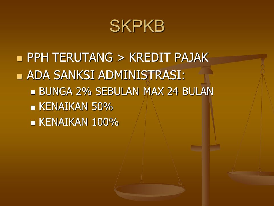 Permohonan diajukan setelah terbit SKPLB (psl 17) Permohonan diajukan setelah terbit SKPLB (psl 17) SPT semula tidak LB SPT semula tidak LB SPT LB tapi lupa/tidak menyilang kotak restitusi SPT LB tapi lupa/tidak menyilang kotak restitusi SPMKP harus terbit 1 bulan sejak permohonan SPMKP harus terbit 1 bulan sejak permohonan Jika lewat, dapat imbalan bunga 2% sebulan Jika lewat, dapat imbalan bunga 2% sebulan