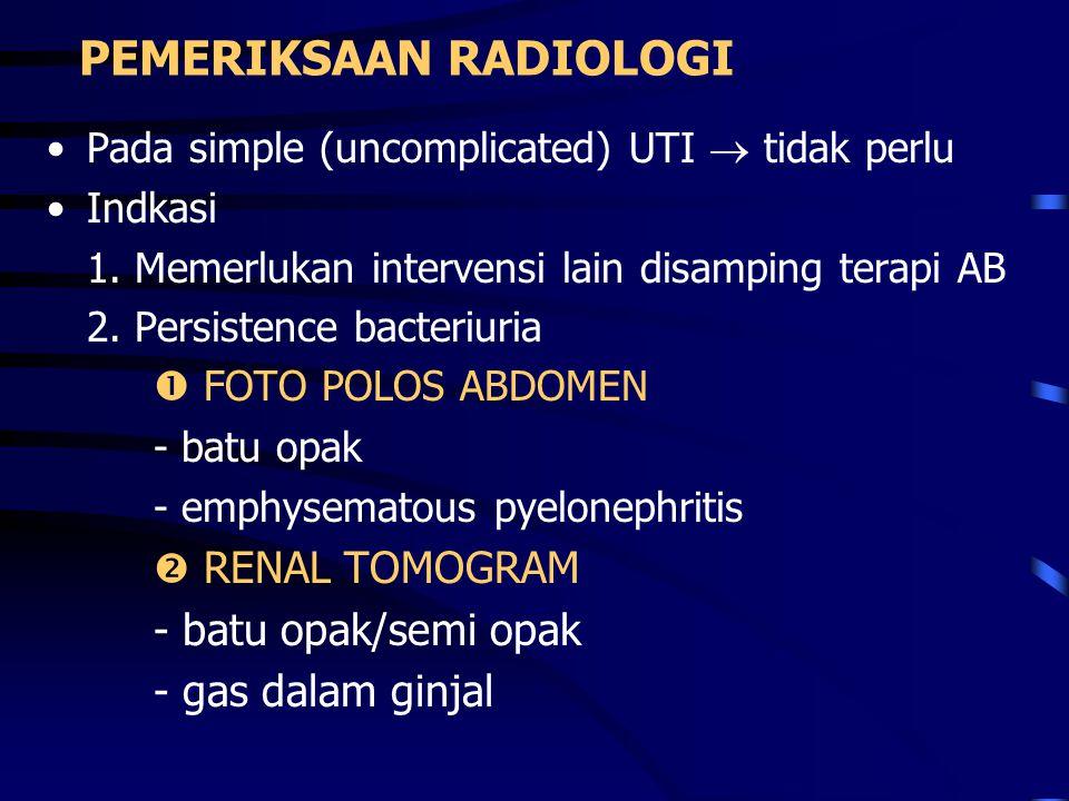 PEMERIKSAAN RADIOLOGI Pada simple (uncomplicated) UTI  tidak perlu Indkasi 1. Memerlukan intervensi lain disamping terapi AB 2. Persistence bacteriur
