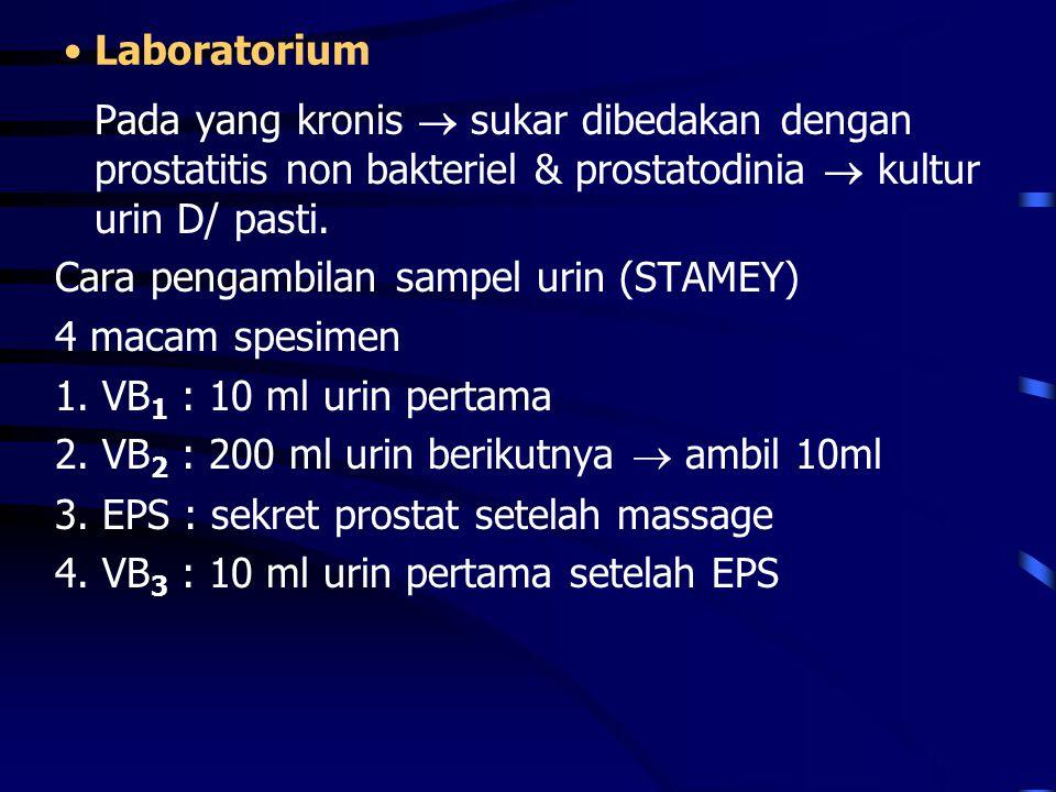 Laboratorium Pada yang kronis  sukar dibedakan dengan prostatitis non bakteriel & prostatodinia  kultur urin D/ pasti. Cara pengambilan sampel urin