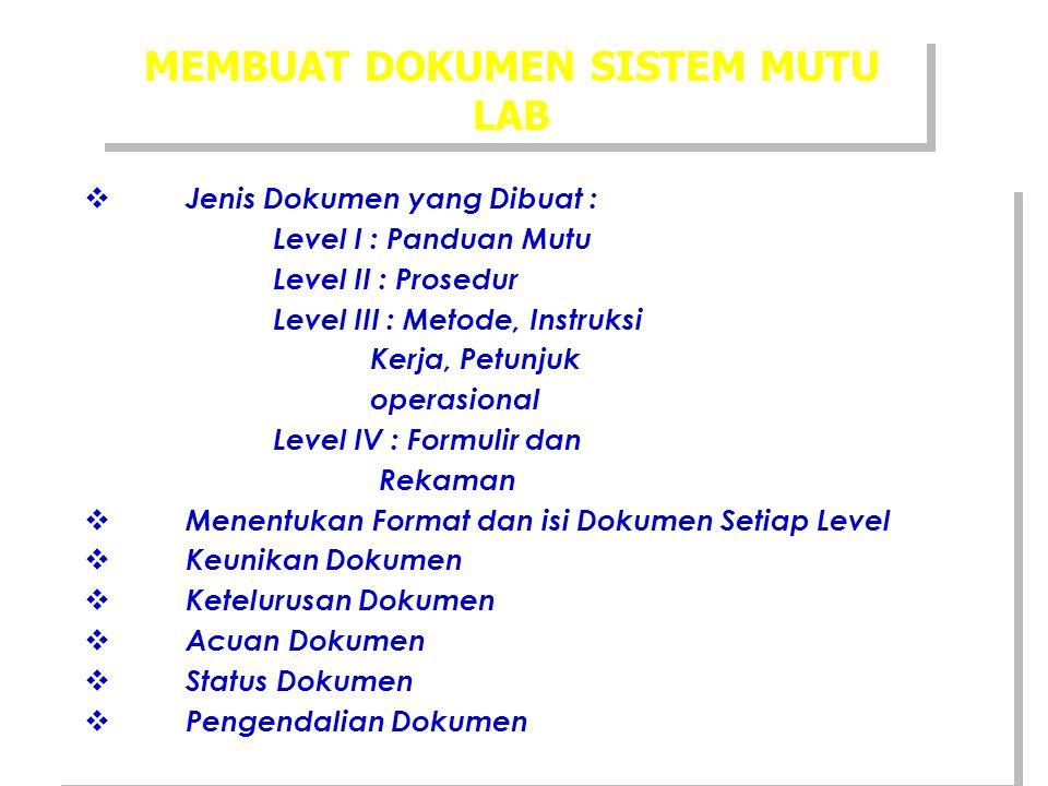MEMBUAT DOKUMEN SISTEM MUTU LAB  Jenis Dokumen yang Dibuat : Level I : Panduan Mutu Level II : Prosedur Level III : Metode, Instruksi Kerja, Petunjuk
