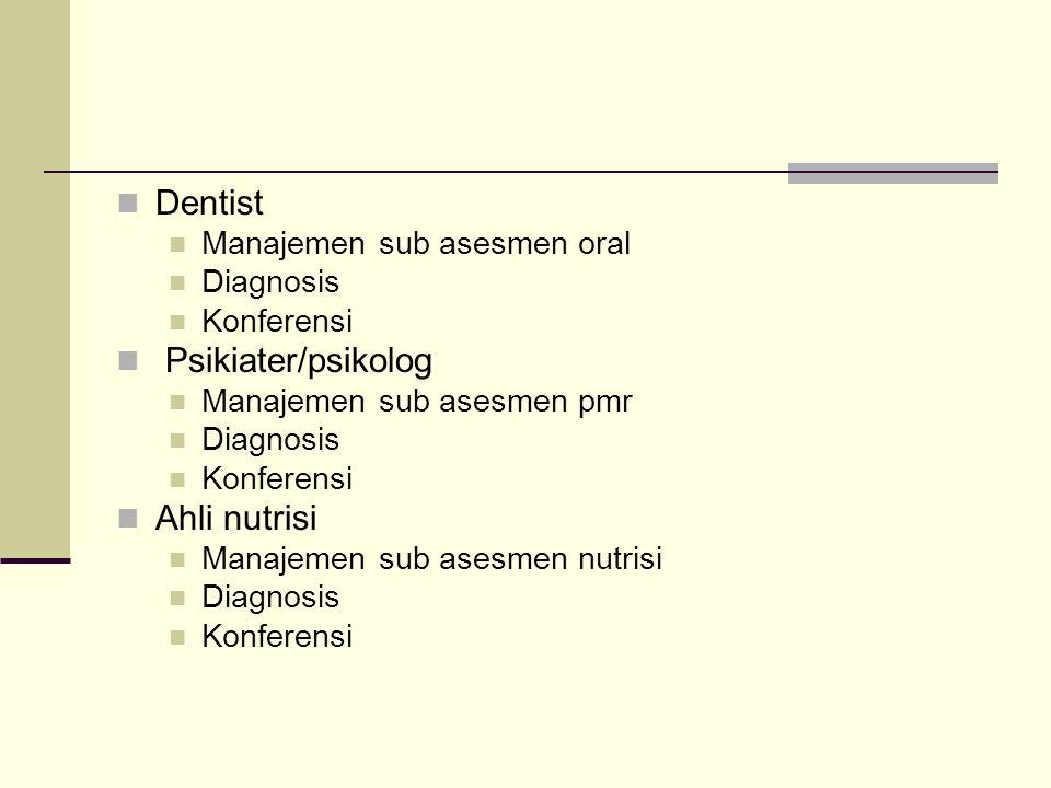 Dentist Manajemen sub asesmen oral Diagnosis Konferensi Psikiater/psikolog Manajemen sub asesmen pmr Diagnosis Konferensi Ahli nutrisi Manajemen sub a