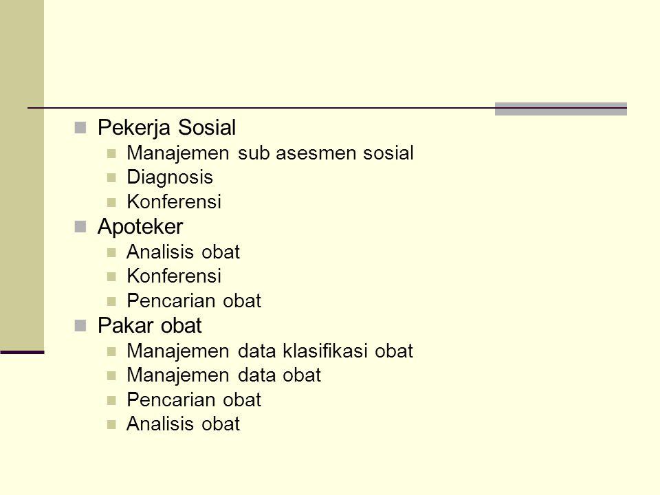 Pekerja Sosial Manajemen sub asesmen sosial Diagnosis Konferensi Apoteker Analisis obat Konferensi Pencarian obat Pakar obat Manajemen data klasifikas