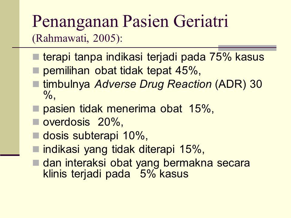 Penanganan Pasien Geriatri (Rahmawati, 2005): terapi tanpa indikasi terjadi pada 75% kasus pemilihan obat tidak tepat 45%, timbulnya Adverse Drug Reac