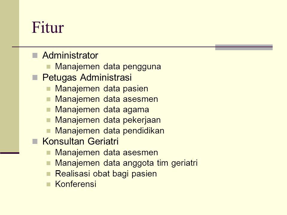 Fitur Administrator Manajemen data pengguna Petugas Administrasi Manajemen data pasien Manajemen data asesmen Manajemen data agama Manajemen data peke
