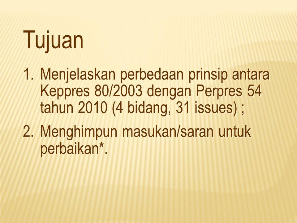 No.Issue Perbedaan Keterangan Keppres 80/2003Perpres 54/2010 3Tata Cara PengadaanTata cara pengadaan terdapat pada Lampiran yang merupakan bagian tak terpisahkan dari Keppres Tata cara pengadaan, yang merupakan penjabaran lebih lanjut dari Perpres, akan diuraikan dalam 2 set dokumen pendukung, yaitu: 1.Tata Cara Pelaksanaan Pengadaan Barang/Jasa Pemerintah; dan 2.Standar Dokumen Pengadaan (Standard Bidding Document).