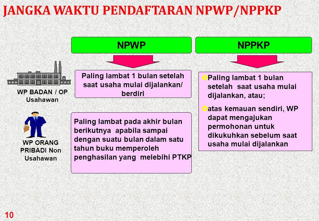 9 SIAPA HARUS HARUS MEMILIKI NPWP/NPPKP Siapa yang harus mendapatkan NPWP? Pihak yang harus mendapatkan NPWP adalah WP yang telah memenuhi syarat subj