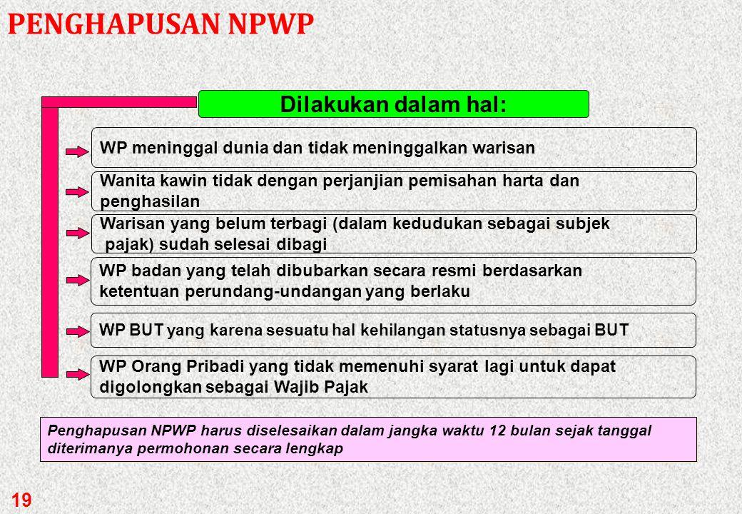 Permohonan WP dengan Surat Pernyataan Pindah KPP Lama menerbitkan SURAT PINDAH kepada WP untuk diserahkan ke KPP Baru KPP baru menerbitkan NPWP dan at