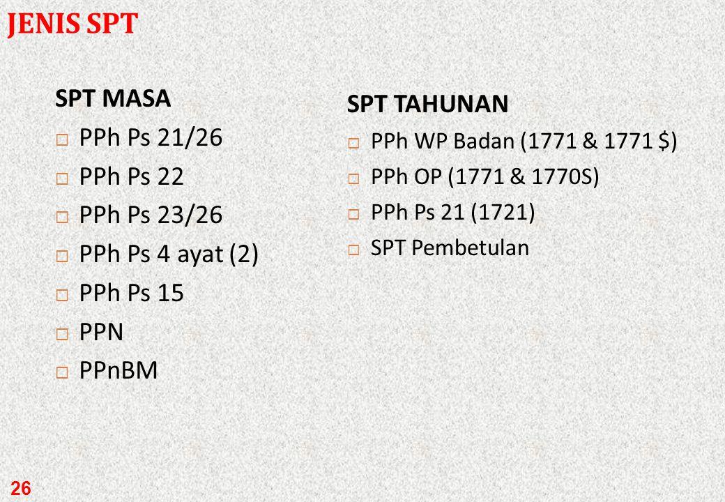 SPT Masa SPT Tahunan SPT adalah surat yang oleh WP digunakan untuk pelaporan, penghitungan, dan atau pembayaran pajak, objek pajak dan atau bukan obje