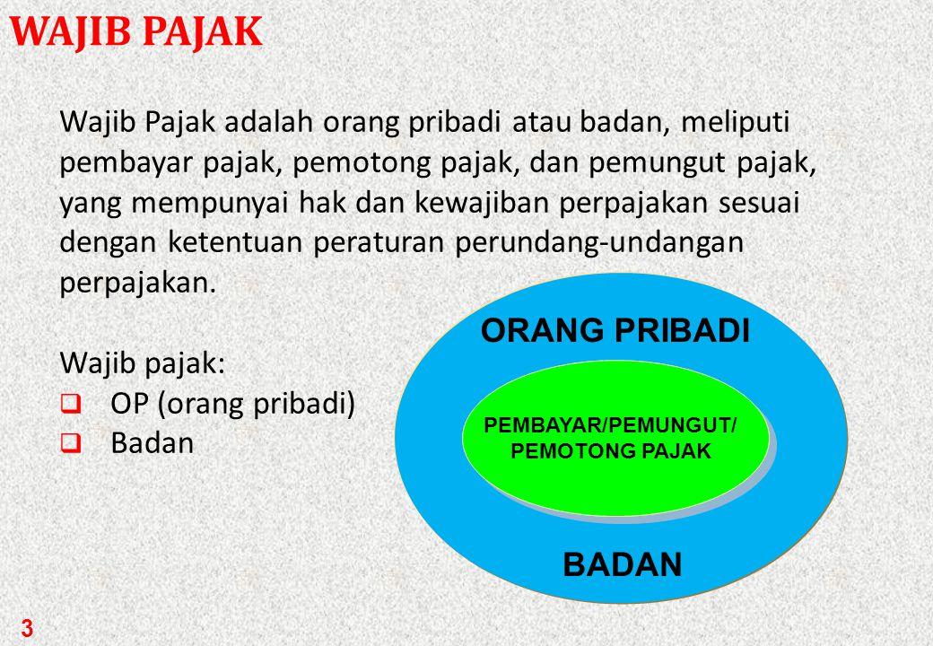 3 WAJIB PAJAK Wajib Pajak adalah orang pribadi atau badan, meliputi pembayar pajak, pemotong pajak, dan pemungut pajak, yang mempunyai hak dan kewajiban perpajakan sesuai dengan ketentuan peraturan perundang-undangan perpajakan.