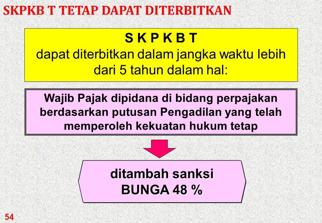 S K P K B dapat diterbitkan dalam jangka waktu lebih dari 5 tahun dalam hal: Wajib Pajak dipidana di bidang perpajakan berdasarkan putusan Pengadilan