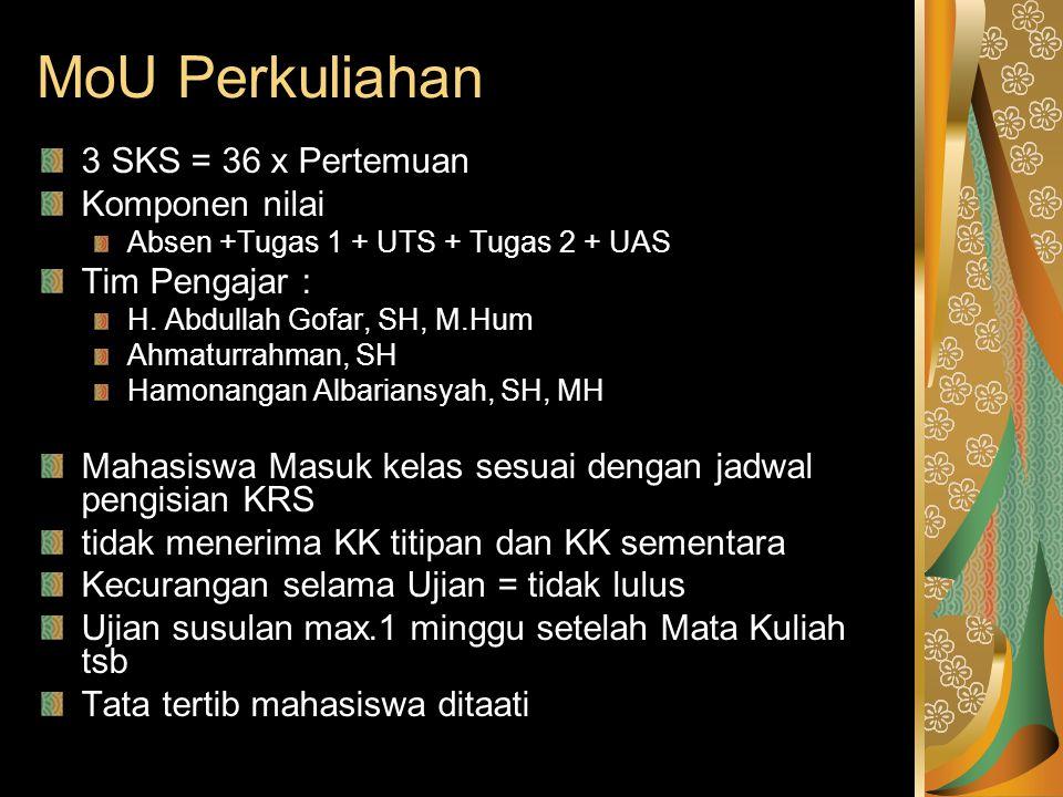 MoU Perkuliahan 3 SKS = 36 x Pertemuan Komponen nilai Absen +Tugas 1 + UTS + Tugas 2 + UAS Tim Pengajar : H. Abdullah Gofar, SH, M.Hum Ahmaturrahman,