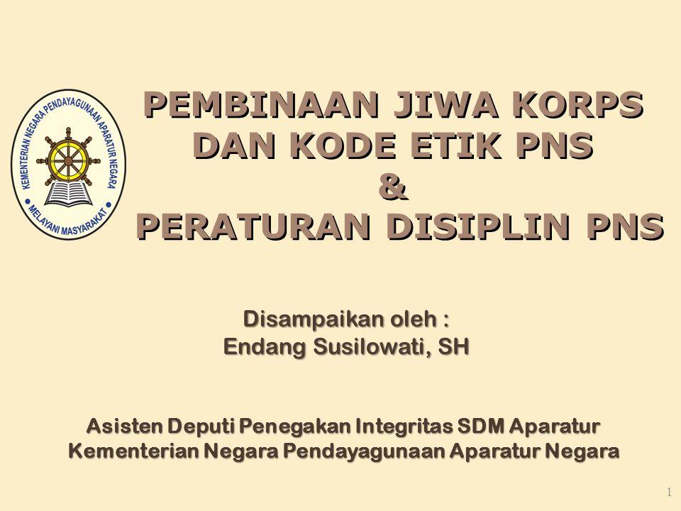 1 Disampaikan oleh : Endang Susilowati, SH Asisten Deputi Penegakan Integritas SDM Aparatur Kementerian Negara Pendayagunaan Aparatur Negara