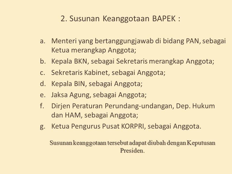 SUSUNAN KEANGGOTAAN BAPEK 1.BAPEK Terdiri dari : a. Seorang Ketua merangkap Anggota; b. Seorang Sekretaris merangkap Anggota; c. 5 (lima) orang Anggot