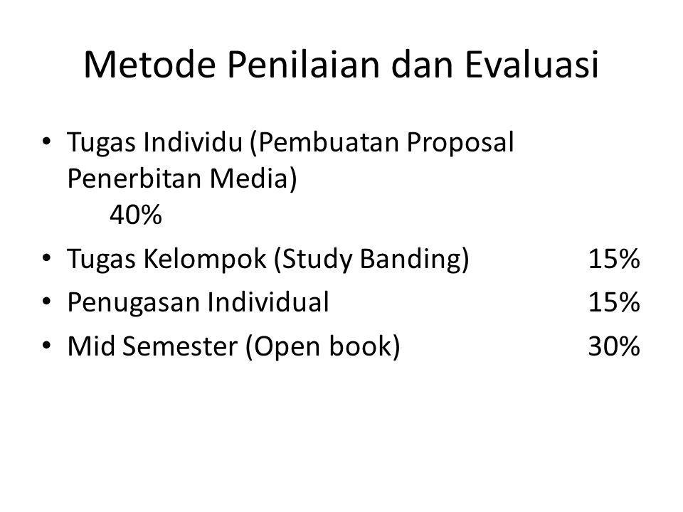 Metode Penilaian dan Evaluasi Tugas Individu (Pembuatan Proposal Penerbitan Media) 40% Tugas Kelompok (Study Banding)15% Penugasan Individual15% Mid Semester (Open book)30%