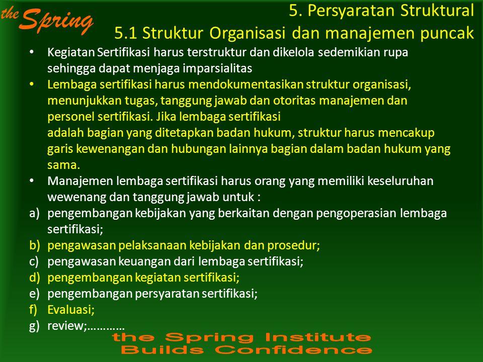 the Spring 5. Persyaratan Struktural 5.1 Struktur Organisasi dan manajemen puncak Kegiatan Sertifikasi harus terstruktur dan dikelola sedemikian rupa