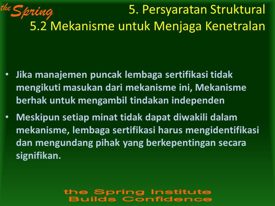 the Spring Jika manajemen puncak lembaga sertifikasi tidak mengikuti masukan dari mekanisme ini, Mekanisme berhak untuk mengambil tindakan independen