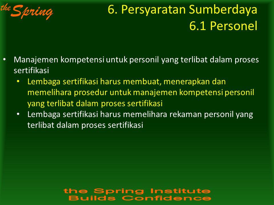 the Spring Manajemen kompetensi untuk personil yang terlibat dalam proses sertifikasi Lembaga sertifikasi harus membuat, menerapkan dan memelihara pro