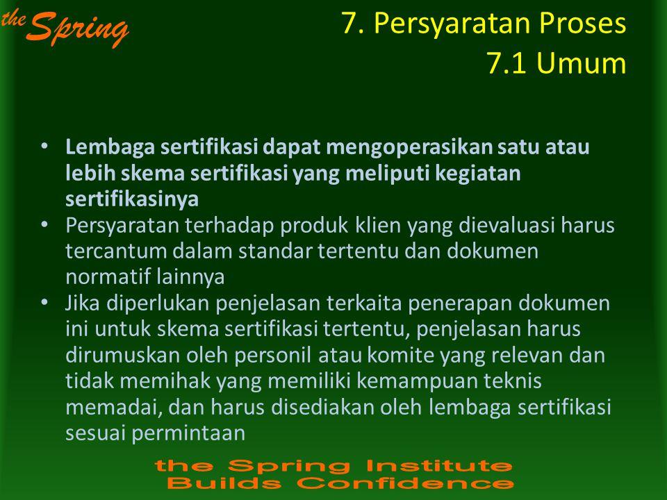 the Spring 7. Persyaratan Proses 7.1 Umum Lembaga sertifikasi dapat mengoperasikan satu atau lebih skema sertifikasi yang meliputi kegiatan sertifikas