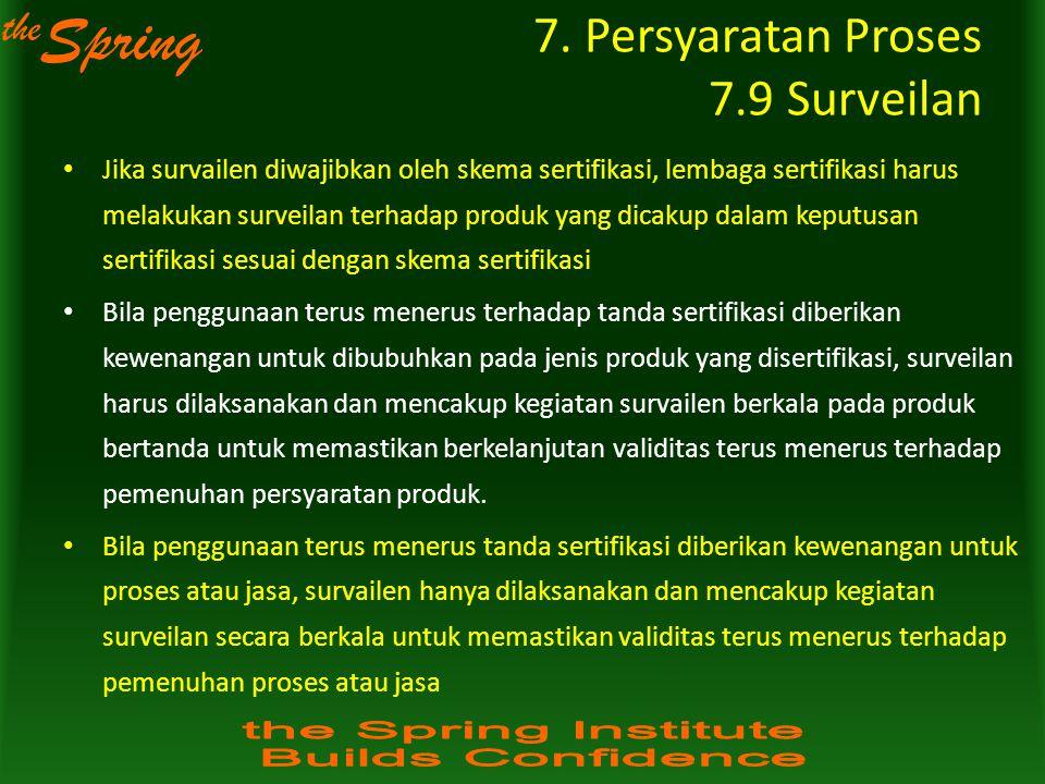 the Spring Jika survailen diwajibkan oleh skema sertifikasi, lembaga sertifikasi harus melakukan surveilan terhadap produk yang dicakup dalam keputusa