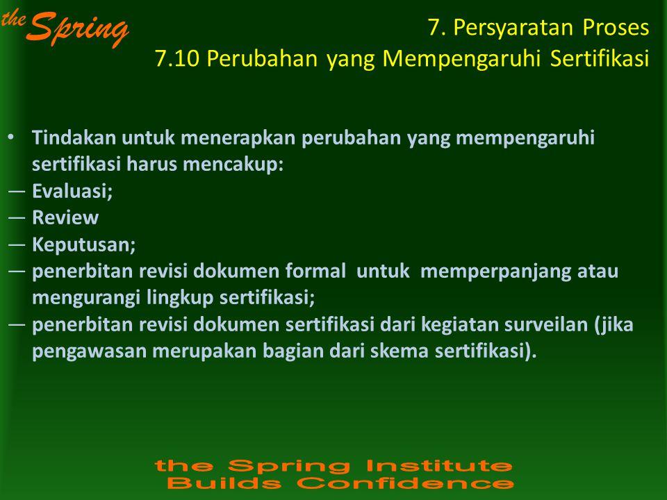 the Spring 7. Persyaratan Proses 7.10 Perubahan yang Mempengaruhi Sertifikasi Tindakan untuk menerapkan perubahan yang mempengaruhi sertifikasi harus