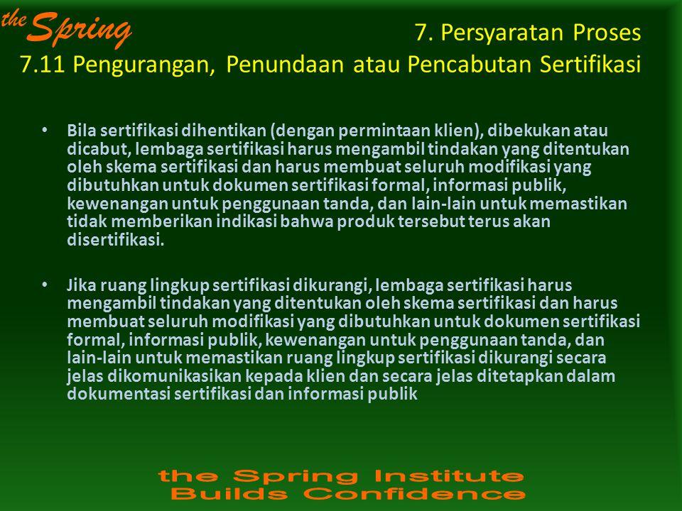 the Spring 7. Persyaratan Proses 7.11 Pengurangan, Penundaan atau Pencabutan Sertifikasi Bila sertifikasi dihentikan (dengan permintaan klien), dibeku