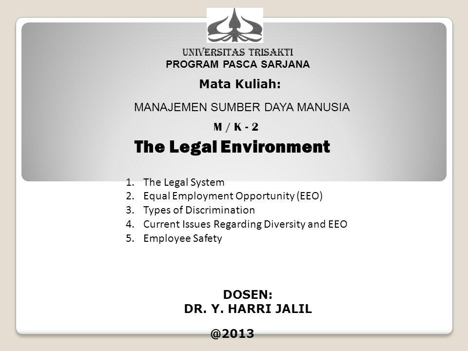 UNIVERSITAS TRISAKTI PROGRAM PASCA SARJANA Mata Kuliah: MANAJEMEN SUMBER DAYA MANUSIA M / K - 2 The Legal Environment DOSEN: DR. Y. HARRI JALIL @2013