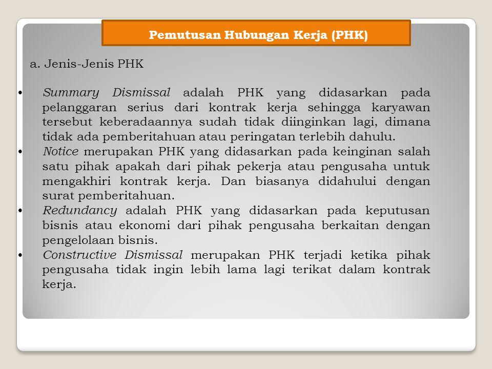 Pemutusan Hubungan Kerja (PHK) a. Jenis-Jenis PHK Summary Dismissal adalah PHK yang didasarkan pada pelanggaran serius dari kontrak kerja sehingga kar
