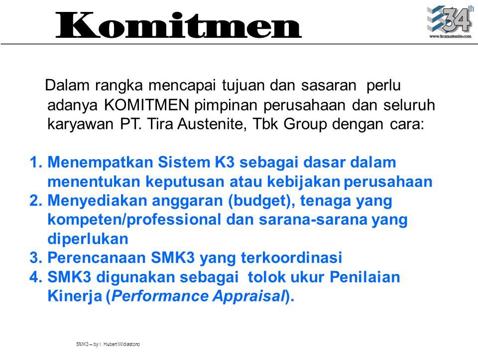 SMK3 – by I. Hubert Widiastono Dalam rangka mencapai tujuan dan sasaran perlu adanya KOMITMEN pimpinan perusahaan dan seluruh karyawan PT. Tira Austen