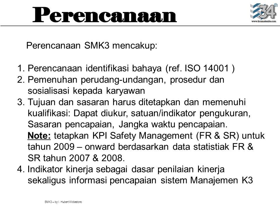 SMK3 – by I. Hubert Widiastono Perencanaan SMK3 mencakup: 1.Perencanaan identifikasi bahaya (ref. ISO 14001 ) 2.Pemenuhan perudang-undangan, prosedur