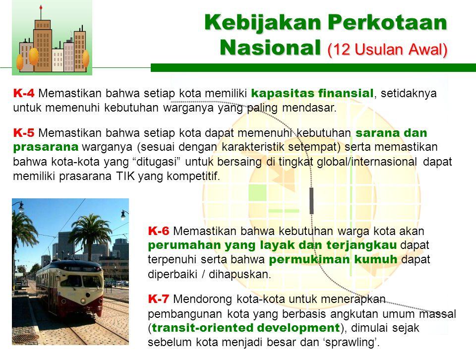 Kebijakan Perkotaan Nasional (12 Usulan Awal) K-6 Memastikan bahwa kebutuhan warga kota akan perumahan yang layak dan terjangkau dapat terpenuhi serta bahwa permukiman kumuh dapat diperbaiki / dihapuskan.