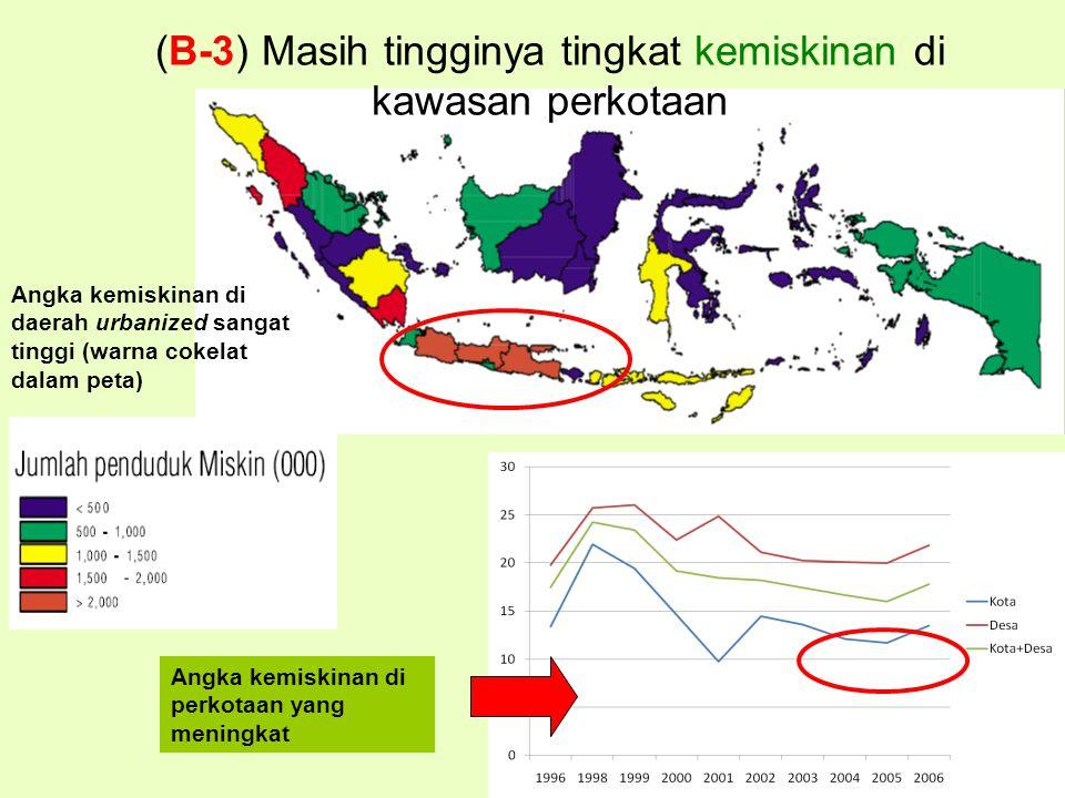 (B-3) Masih tingginya tingkat kemiskinan di kawasan perkotaan Angka kemiskinan di perkotaan yang meningkat Angka kemiskinan di daerah urbanized sangat tinggi (warna cokelat dalam peta)