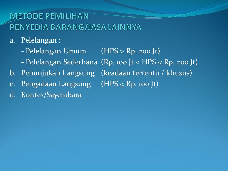 a.Pelelangan : - Pelelangan Umum (HPS > Rp. 200 Jt) - Pelelangan Sederhana(Rp. 100 Jt < HPS < Rp. 200 Jt) b.Penunjukan Langsung (keadaan tertentu / kh