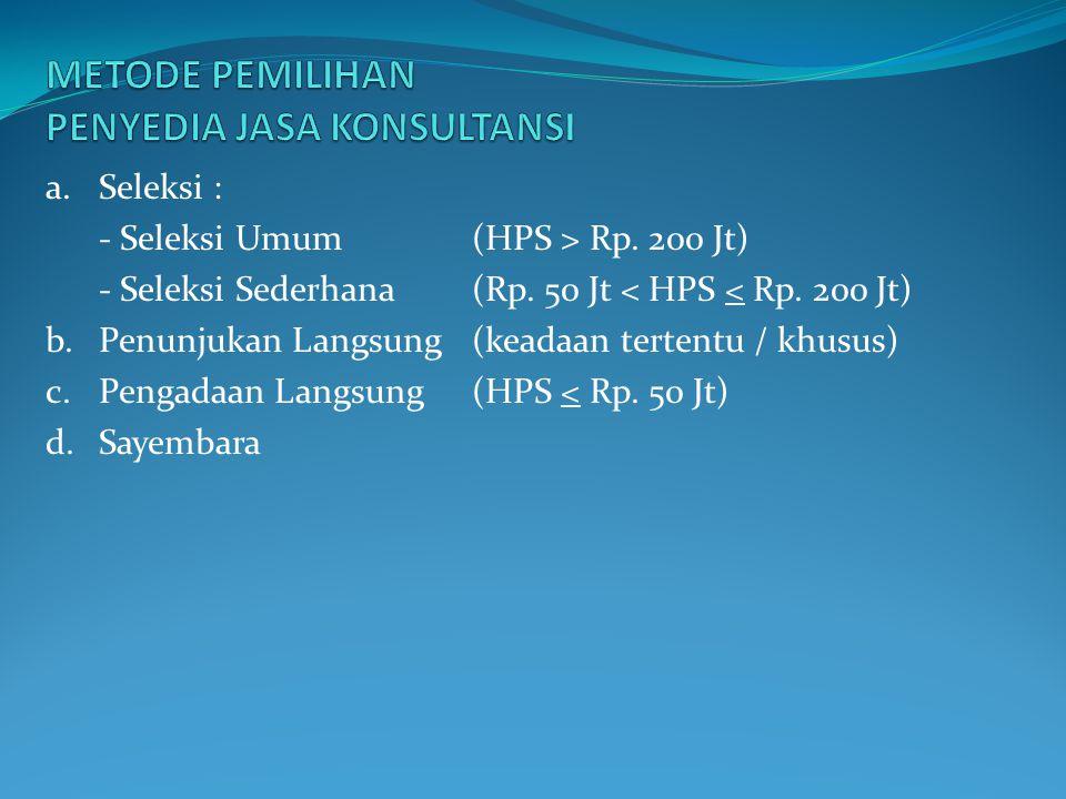 a.Seleksi : - Seleksi Umum (HPS > Rp. 200 Jt) - Seleksi Sederhana(Rp. 50 Jt < HPS < Rp. 200 Jt) b.Penunjukan Langsung (keadaan tertentu / khusus) c.Pe