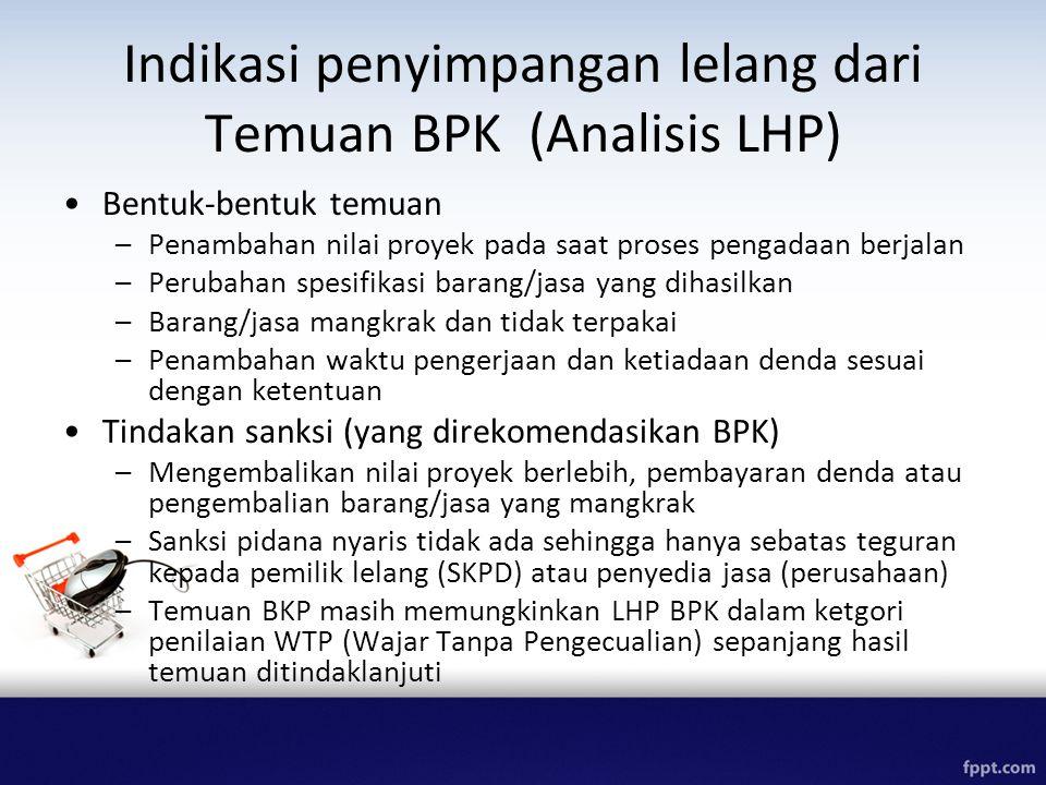 Indikasi penyimpangan lelang dari Temuan BPK (Analisis LHP) Bentuk-bentuk temuan –Penambahan nilai proyek pada saat proses pengadaan berjalan –Perubah
