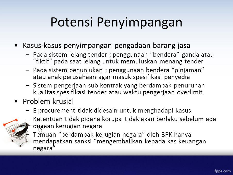 """Potensi Penyimpangan Kasus-kasus penyimpangan pengadaan barang jasa –Pada sistem lelang tender : penggunaan """"bendera"""" ganda atau """"fiktif"""" pada saat le"""