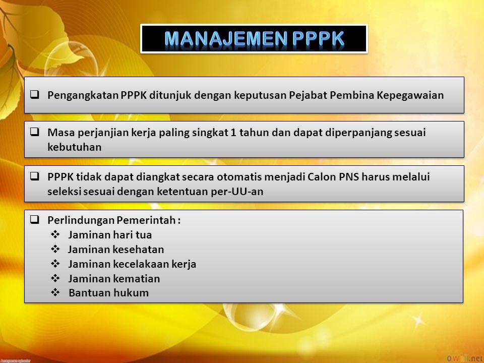  Pengangkatan PPPK ditunjuk dengan keputusan Pejabat Pembina Kepegawaian  Masa perjanjian kerja paling singkat 1 tahun dan dapat diperpanjang sesuai