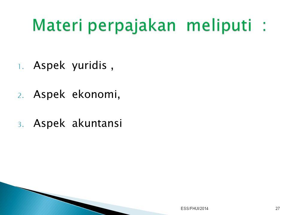 1. Aspek yuridis, 2. Aspek ekonomi, 3. Aspek akuntansi ESS/FHUI/201427